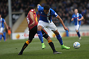 Nathaniel Mendez-Laing is challenged by Timothy Dieng during the EFL Sky Bet League 1 match between Rochdale and Bradford City at Spotland, Rochdale, England on 30 April 2017. Photo by Daniel Youngs.