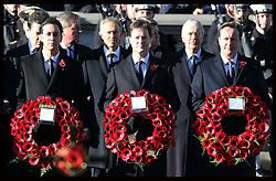 Prime Minister David Cameron with Deputy Prime Minister Nick Clegg and  Leader of Opposition Ed Miliband  at the Remembrance Sunday service at The Cenotaph in London, Sunday, 11th November 2012 Photo by: Stephen Lock / i-Images