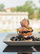 Shortcake: blackberries and blueberries, blackberry sauce, vanilla whipped cream