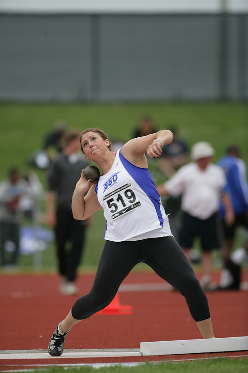 (Charlottetown, Prince Edward Island -- 20090718) Alanna Kovacs of South Simcoe Dufferin T.F competes in the women's shot put final at the 2009 Canadian Junior Track & Field Championships at UPEI Alumni Canada Games Place on the campus of the University of Prince Edward Island, July 17-19, 2009.  Copyright Sean Burges / Mundo Sport Images , 2009...Mundo Sport Images has been contracted by Athletics Canada to provide images to the media.