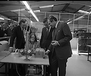 Opening of Telectron Factory in Donegal.<br /> 1974.<br /> 08.04.1974.<br /> 04.08.1974.<br /> 8th April 1974.<br /> Today saw the official opening of the Telectron Electronics factory in Donegal. The Factory opened at The Gaeltacht Industrial Park, Bunbeg, Co Donegal. It saw a welcome jobs boost for what is regarded as one of the countries employment blackspots. The Minister for Posts and Telegraphs,Mr Conor Cruise-O'Brien was on hand to officiate at the opening.