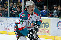 KELOWNA, CANADA - DECEMBER 27:  Ryan Olsen #27 of the Kelowna Rockets skates on the ice against the Kamloops Blazers at the Kelowna Rockets on December 27, 2012 at Prospera Place in Kelowna, British Columbia, Canada (Photo by Marissa Baecker/Shoot the Breeze) *** Local Caption ***