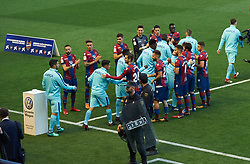 May 13, 2018 - Valencia, Valencia, Spain - The Levante players pay homage to the FC Barcelona players for their victories in the Cup and in the League prior the spanish football league La Liga  between Levante and FC Barcelona, at Ciutat de Valencia Stadium, on may 13, 2018  (Credit Image: © Maria Jose Segovia/NurPhoto via ZUMA Press)