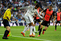 Real Madrid´s Raphael Varane and Almeria's Tommer Hemed during 2014-15 La Liga match between Real Madrid and Almeria at Santiago Bernabeu stadium in Madrid, Spain. April 29, 2015. (ALTERPHOTOS/Luis Fernandez)
