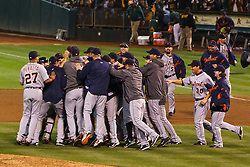 September 16, 2011; Oakland, CA, USA;  The Detroit Tigers celebrates after the game against the Oakland Athletics at O.co Coliseum.  Detroit defeated Oakland 3-1 to clinch the American League central division title.