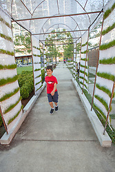 United States, Washington, Bellevue, boy at Bellwether 2012 outdoor sculpture exhibition in City Hall Plaza  MR