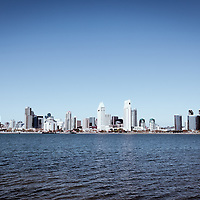 High resolution photo of San Diego waterfront downtown city buildings during the day accross San Diego Bay in Southern California.