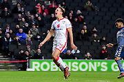 Milton Keynes Dons defender Callum Brittain (25) shouts in frustration as he shoots wide during the EFL Sky Bet League 1 match between Milton Keynes Dons and Charlton Athletic at stadium:mk, Milton Keynes, England on 17 February 2018. Picture by Dennis Goodwin.