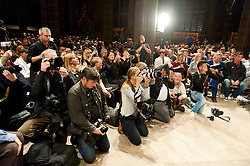 © Licensed to London News Pictures. 05/10/2015. Manchester, UK. The Press Pack swoop on Corby when he arrives. Jeremy Corbyn gives a rousing speech to several thousand fans in Manchester Cathedra on day four of the protest weekl. A week of pro-peace, anti-austerity, anti-war, anti-Tory, protests dubbed 'Take Back Manchester' has been  organised by The People's Assembly and timed to coincide with the Conservative Party Conference in Manchester on 4th - 7th Oct 2015. Over 40 events are planned, including a speech by new Labour leader Jeremy Corbyn timed to compete with closing speech of Tory leader David Cameron. Photo credit: Graham M. Lawrence/LNP