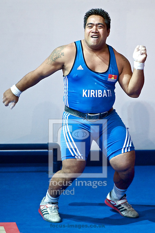 David Katoatau of Kiribati celebrates after winning his country's first ever medal after winning the Men's 105kg final on Weightlifting Day Seven at Clyde Auditorium during Glasgow 2014 Commonwealth Games <br /> Picture by Ian Wadkins/Focus Images Ltd +44 7877 568959<br /> 30/07/2014