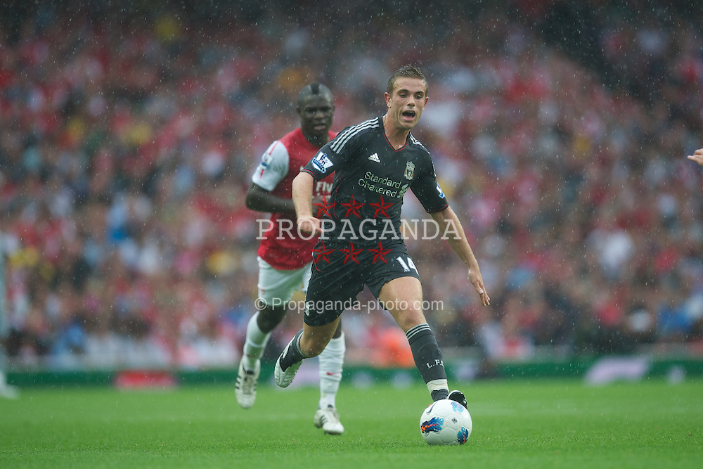 LONDON, ENGLAND - Saturday, August 20, 2011: Liverpool's Jordan Henderson in action against Arsenal during the Premiership match at the Emirates Stadium. (Pic by David Rawcliffe/Propaganda)