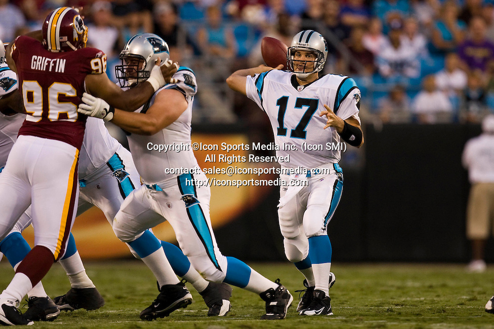 Carolina Panthers Jake Delhomme prepares to pass against the Washington Redskins during an NFL preseason football game on August, 23, 2008 at Bank of America Stadium in Charlotte, North Carolina.
