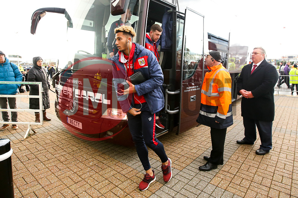 Lloyd Kelly of Bristol City arrives at Pride Park Stadium for the Sky Bet Championship game against Derby County - Mandatory by-line: Robbie Stephenson/JMP - 22/12/2018 - FOOTBALL - Pride Park Stadium - Derby, England - Derby County v Bristol City - Sky Bet Championship