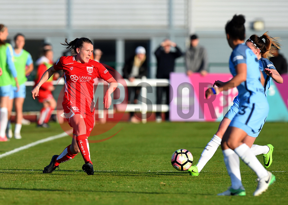 Frankie Brown of Bristol City Women in action during the FA WSL 1 match between Bristol City Women and Manchester City Women at Stoke Gifford Stadium - Mandatory by-line: Paul Knight/JMP - 09/05/2017 - FOOTBALL - Stoke Gifford Stadium - Bristol, England - Bristol City Women v Manchester City Women - FA Women's Super League Spring Series