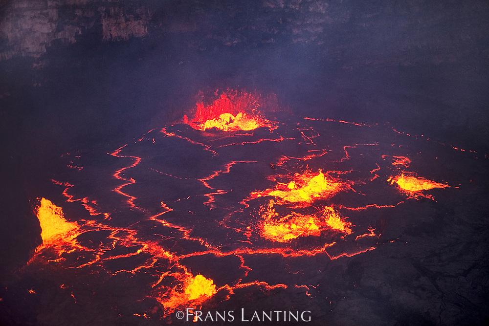 Erupting lava (aerial), Lava Lake, Pu'u 'O'o, Hawaii Volcanoes National Park, Hawaii