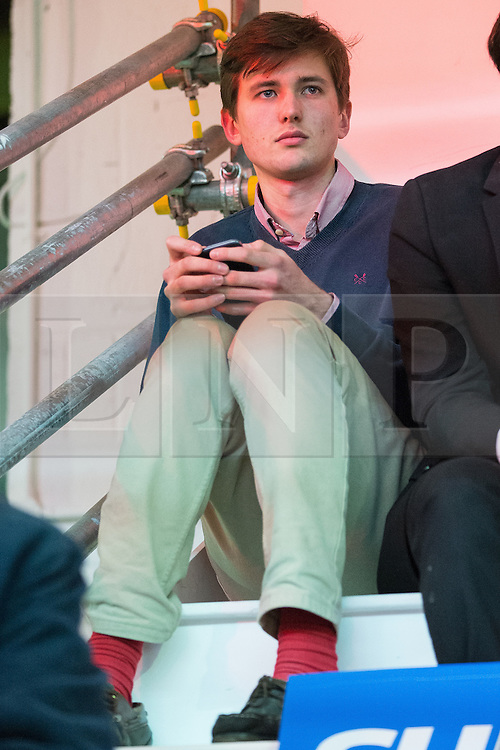 """© Licensed to London News Pictures . 15/04/2016 . Manchester , UK . COLM LOCK who was egged outside the Conservative Party Conference in Manchester in Autumn 2015 JOHNSON , watching Boris Johnson speak at a """" Vote Leave """" rally at Old Granada Studios , in Manchester . Photo credit: Joel Goodman/LNP"""