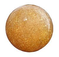 Gold glitter nail polish on white background