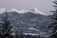Purply-grey twilight colors the Coast Mountain Garibaldi Range, near Whistler BC