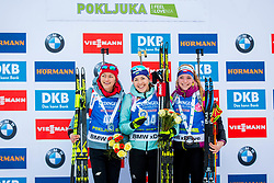Monika Hojnisz (POL), Yuliia Dzhima (UKR) and Marketa Davidova (CZE) during Women 15km Individual at day 5 of IBU Biathlon World Cup 2018/19 Pokljuka, on December 6, 2018 in Rudno polje, Pokljuka, Pokljuka, Slovenia. Photo by Ziga Zupan / Sportida