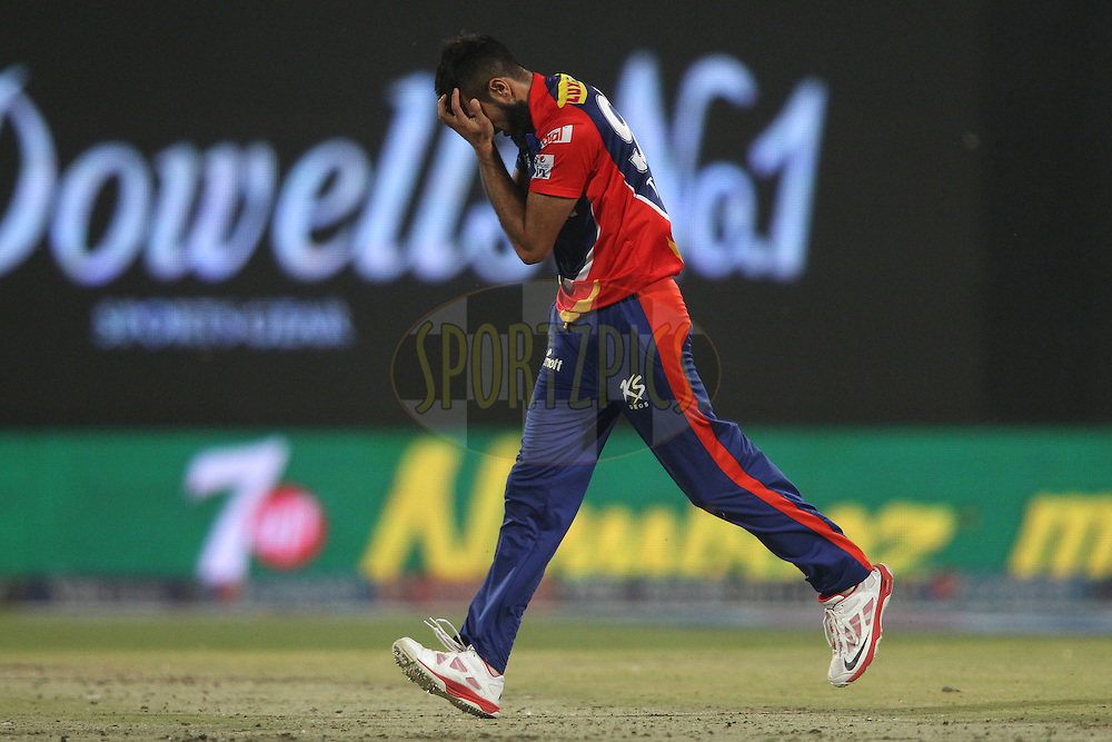Imran Tahir of the Delhi Daredevils reacts after a close call during match 21 of the Pepsi IPL 2015 (Indian Premier League) between The Delhi Daredevils and The Mumbai Indians held at the Ferozeshah Kotla stadium in Delhi, India on the 23rd April 2015.<br /> <br /> Photo by:  Shaun Roy / SPORTZPICS / IPL