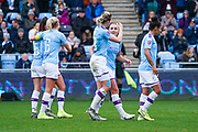 Manchester City Women forward Georgia Stanway (10) scores a goal and celebrates with Manchester City Women forward Ellen White (18) to make the score 2-0 during the FA Women's Super League match between Manchester City Women and West Ham United Women at the Sport City Academy Stadium, Manchester, United Kingdom on 17 November 2019.