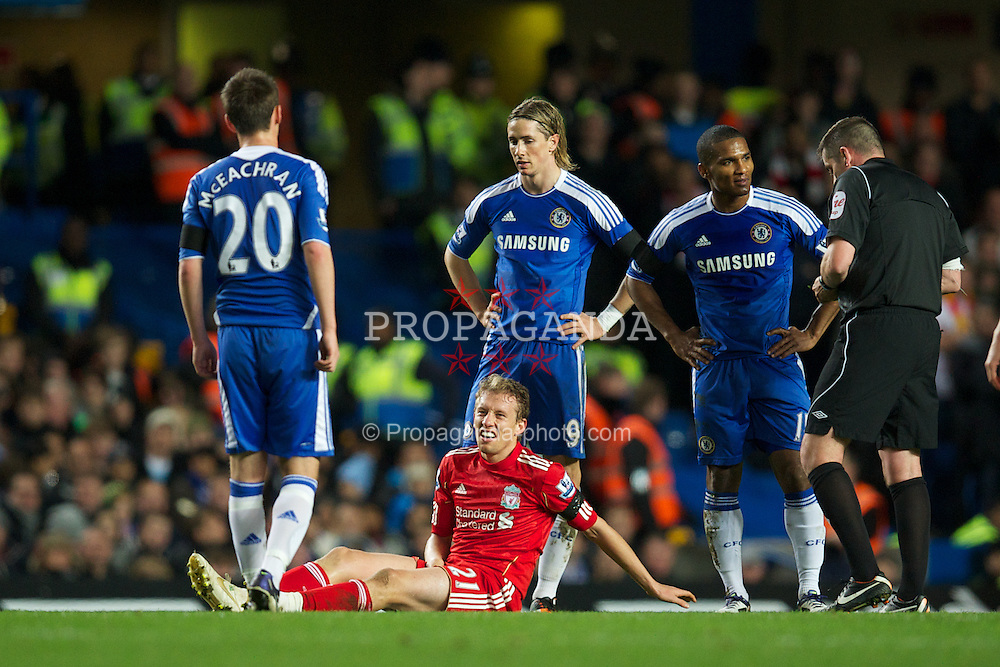 LONDON, ENGLAND - Tuesday, November 29, 2011: Liverpool's Lucas Leiva with a sensitive injury against Chelsea during the Football League Cup Quarter-Final match at Stamford Bridge. (Pic by David Rawcliffe/Propaganda)