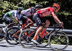 10.07.2019, Radstadt, AUT, Ö-Tour, Österreich Radrundfahrt, 4. Etappe, von Radstadt nach Fuscher Törl (103,5 km), im Bild v.l. Nicholas Dlamini (Team Dimension Data, RSA), Omar El Gouzi (Tirol KTM Cycling Team, ITA), Jonas Koch (CCC Team, GER) // v.l. Nicholas Dlamini (Team Dimension Data, RSA), Omar El Gouzi (Tirol KTM Cycling Team, ITA), Jonas Koch (CCC Team, GER) during 4th stage from Radstadt to Fuscher Törl (103,5 km) of the 2019 Tour of Austria. Radstadt, Austria on 2019/07/10. EXPA Pictures © 2019, PhotoCredit: EXPA/ JFK