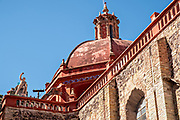 Dome of the Churrigueresque style Saint Diego Church or Iglesia de San Diego in the historic center of Guanajuato City, Guanajuato, Mexico.