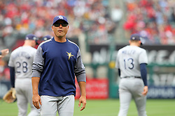 May 20, 2018 - Anaheim, CA, U.S. - ANAHEIM, CA - MAY 20: Rays Manager Kevin Cash looks up into the stands as he returns to the dugout during the major league baseball game between the Tampa Bay Rays and the Los Angeles Angels on May 20, 2018 at Angel Stadium of Anaheim in Anaheim, California. (Photo by Cliff Welch/Icon Sportswire) (Credit Image: © Cliff Welch/Icon SMI via ZUMA Press)