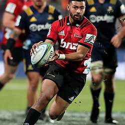 Richie Mounga in action during the Super Rugby match between the Crusaders and Highlanders at Wyatt Crockett Stadium in Christchurch, New Zealand on Friday, 06 July 2018. Photo: Martin Hunter / lintottphoto.co.nz