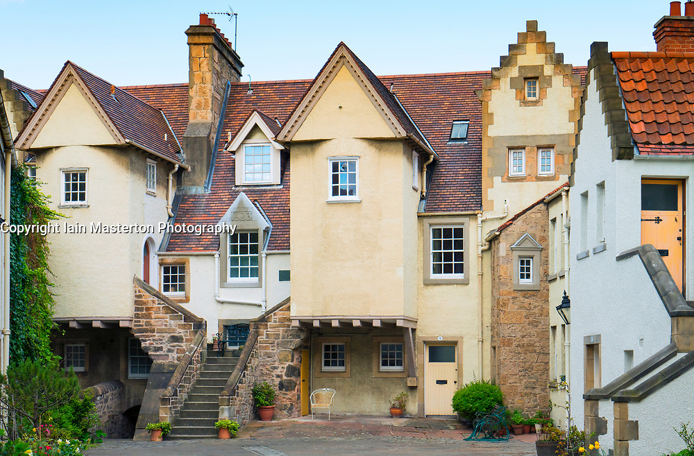 View of historic White Horse Close courtyard with houses in Holyrood, Edinburgh, Scotland, united Kingdom