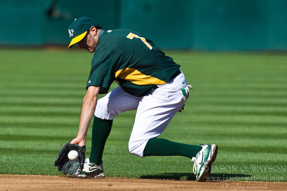 May 7, 2010; Oakland, CA, USA;  Oakland Athletics second baseman Adam Rosales (7) before the game against the Tampa Bay Rays at Oakland-Alameda County Coliseum. Tampa Bay defeated Oakland 4-1.