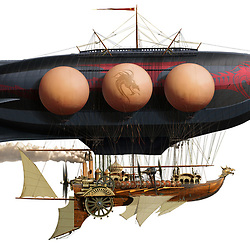 Highly detailed illustration of a Victorianesque steam powered airship inspired by 19th-century industrial technology and aesthetic designs. Created with over 5,000 original illustrations and photo-composite elements