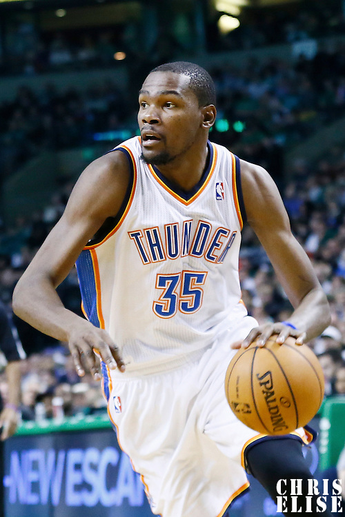 23 November 2012: Oklahoma City Thunder small forward Kevin Durant (35) dribbles during the Boston Celtics 108-100 victory over the Oklahoma City Thunder at the TD Garden, Boston, Massachusetts, USA.