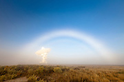 A fog bow over the Very Large Array in southwestern New Mexico.