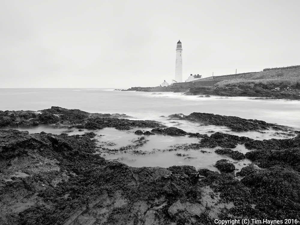 A long exposure, landscape image of Scurdie Ness on the Angus coast, opposite Montrose.<br /> <br /> It rained copiously for an hour as we stood and attempted to photograph the lighthouse. Perhaps another day...