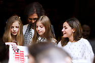 Crown Princess Leonor, Princess Sofia, Queen Letizia of Spain, Queen Sofia of Spain, Paloma Rocasolano are seen after going to see the 'Billy Elliot' theatre play on May 19, 2018 in Madrid, Spain