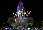 Angelinos welcome 2017 in Grand Style at Grand Park + The Music Centers N.Y.E.L.A. 3-D digital images were projected onto the side of the iconic Los Angeles City Hall to count down to the New Year. Los Angeles California. Photo Courtesy The Music Center 1/1/2017