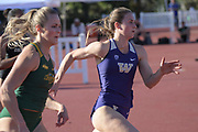 Hannah Rusnak of Washington runs in the heptathlon 200m during the Bryan Clay Invitational in Azusa, Calif., Wednesday, April 17, 2019.