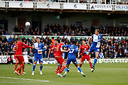 Bristol Rovers defender Tom Davies shoots and scores a goal (1-0) during the EFL Sky Bet League 1 match between Bristol Rovers and Milton Keynes Dons at the Memorial Stadium, Bristol, England on 12 October 2019.