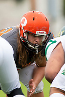 KELOWNA, BC - SEPTEMBER 22: JJ Heaton #62 of Okanagan Sun stands at the line of scrimmage against the Valley Huskers  at the Apple Bowl on September 22, 2019 in Kelowna, Canada. (Photo by Marissa Baecker/Shoot the Breeze)