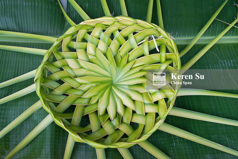 Basket made of banan leaves, Yap Island, Federated States of Micronesia