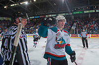 KELOWNA, CANADA - APRIL 26: Kole Lind #16 of the Kelowna Rockets celebrates a first period goal against the Seattle Thunderbirds on April 26, 2017 at Prospera Place in Kelowna, British Columbia, Canada.  (Photo by Marissa Baecker/Shoot the Breeze)  *** Local Caption ***