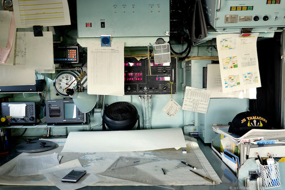 Navigation table inside the bridge of the Yamagiri ship. <br /> Miho Ootani, the first woman destroyer captain of Japan's Marine Self Defence Forces (MSDF), on board the Yamagiri in Yokosuka army base near Tokyo. Navigation table inside the bridge of the Yamagiri ship.