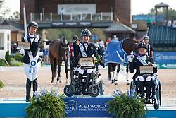 Morganti Sara, ITA, Yen-Ti Tan Laurentia, SGP, Philipp Elke, GER,<br /> Tryon - FEI World Equestrian Games™ 2018<br /> Siegerehrung<br /> Para-Dressur Grade Einzelentscheidung<br /> 19. September 2018<br /> © www.sportfotos-lafrentz.de/Sharon Vandeput