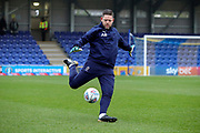 AFC Wimbledon goalkeeping coach Ashley Bayes warming up during the EFL Sky Bet League 1 match between AFC Wimbledon and Southend United at the Cherry Red Records Stadium, Kingston, England on 1 January 2020.