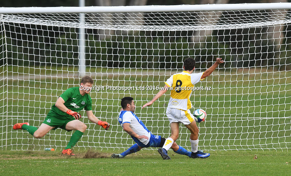 ESAFC's Sander Waterland scores a goal in extra time. Chatham Cup Football, Round 2. Eastern Suburbs v Hamilton Wanderers, Madills Farm, Auckland, New Zealand. Monday 6 June 2016©Copyright photo: Andrew Cornaga/www.photosport.nz