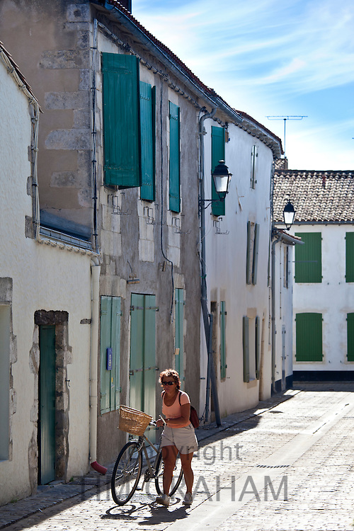 Street scene in La Flotte, Ile de Re, France