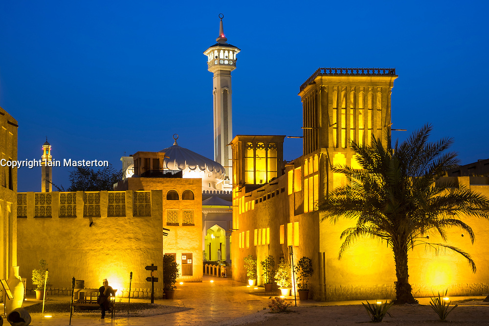 historic Bastakiya quarter at night in Dubai United Arab Emirates
