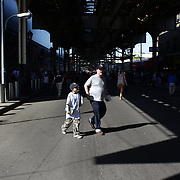 Fans leave Yankee Stadium after the New York Yankees V Cincinnati Reds Baseball game at Yankee Stadium, The Bronx, New York. 19th May 2012. Photo Tim Clayton